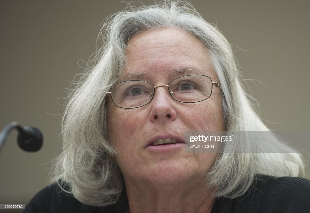 Emily Nottingham, mother of Congressional staffer Gabe Zimmerman who was killed during the mass shooting attack on former US Representative Gabrielle Giffords, speaks about gun violence during a meeting of the House Democratic Steering and Policy Committee on Capitol Hill in Washington, DC, on January 16, 2013. AFP PHOTO / Saul LOEB