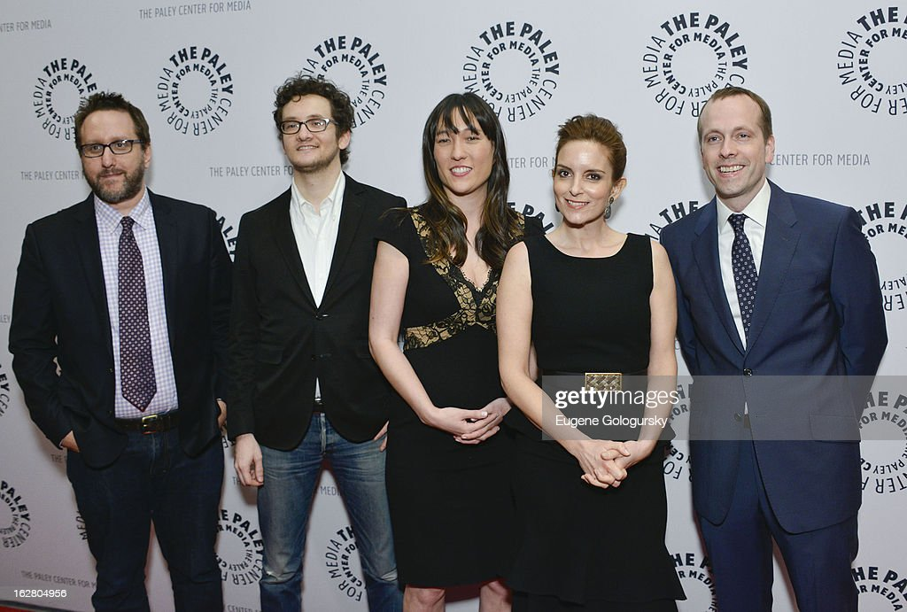 Emily Nussbaum, Josh Siegal, Dylan Morgan, Colleen McGuinness, <a gi-track='captionPersonalityLinkClicked' href=/galleries/search?phrase=Tina+Fey&family=editorial&specificpeople=206753 ng-click='$event.stopPropagation()'>Tina Fey</a> and Robert Carlock attend Hey Dummies: An Evening With The 30 Rock Writers Panel Discussion at The Paley Center for Media on February 27, 2013 in New York City.