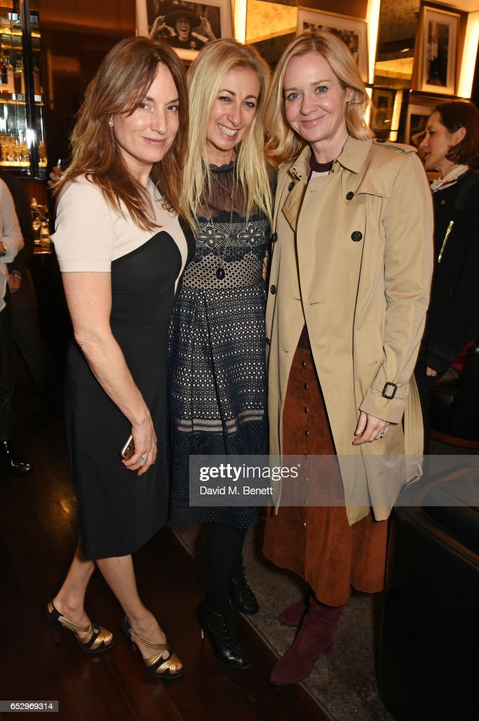 Emily Oppenheimer, Jenny Halpern-Prince and Kate Reardon attend a cocktail party at the Bulgari Hotel London to celebrate the launch of MIASUKI at Harrods on March 13, 2017 in London, England.
