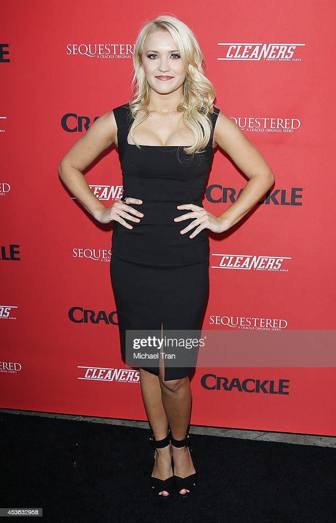 <a gi-track='captionPersonalityLinkClicked' href=/galleries/search?phrase=Emily+Osment&family=editorial&specificpeople=873997 ng-click='$event.stopPropagation()'>Emily Osment</a> arrives at the Crackle Original Series' 'Cleaners' and 'Sequestered' Summer premiere celebration held at 1 OAK on August 14, 2014 in West Hollywood, California.
