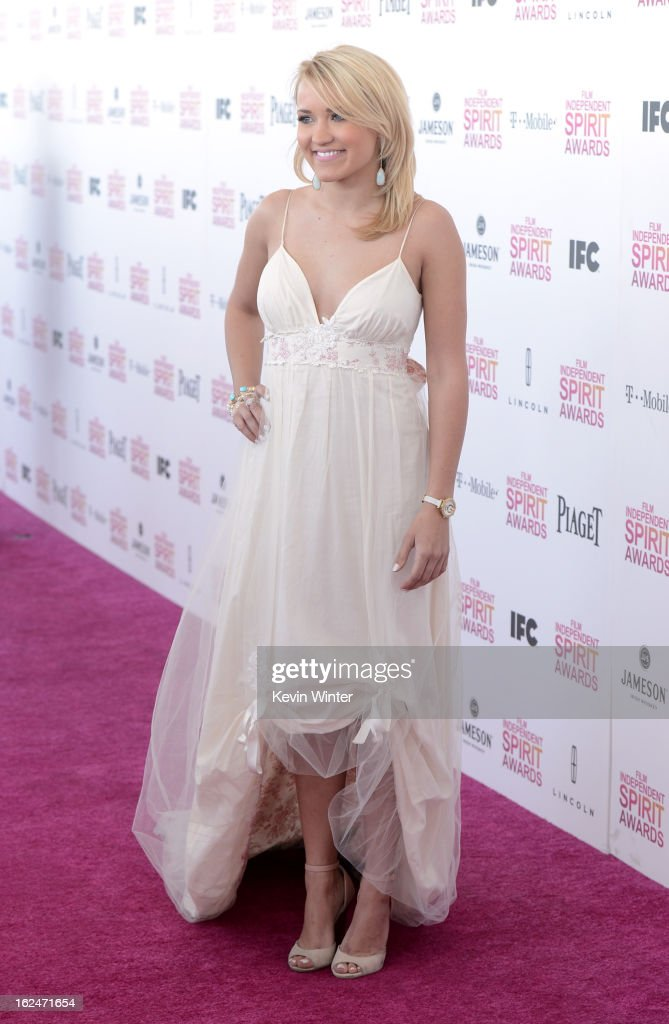 Emily Osment attends the 2013 Film Independent Spirit Awards at Santa Monica Beach on February 23, 2013 in Santa Monica, California.