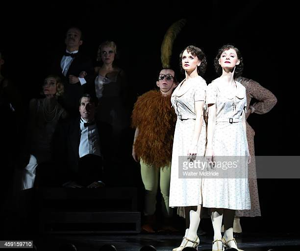Emily Padgett and Erin Davie and the cast during the Broadway Opening Night Curtain Call for 'Side Show' at the St James Theatre on November 17 2014...
