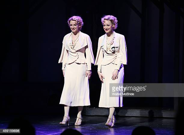 Emily Padgett and Erin Davie during the Broadway Opening Night Curtain Call for 'Side Show' at the St James Theatre on November 17 2014 in New York...