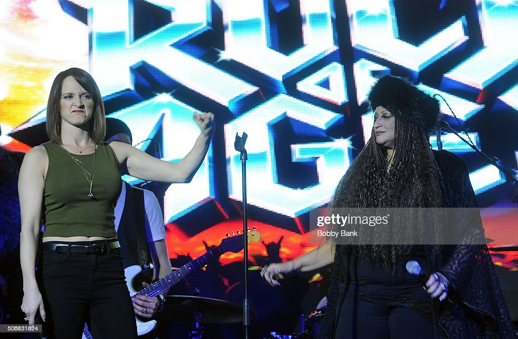 Emily Padgett and Michele Mais perform at the 'Rock Of Ages' Broadway Cast Reunion Concert at Highline Ballroom on January 25 2016 in New York City