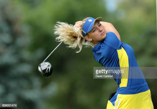 Emily Pedersen of Denmark and the European team in action against Danielle Kang of the United States team during the final day singles matches in the...