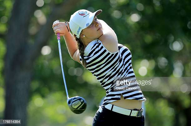 Emily Pedersen of Denmark and the European team in action during the final day of the 2013 Ping Junior Solheim Cup matches at the Inerness Golf Club...