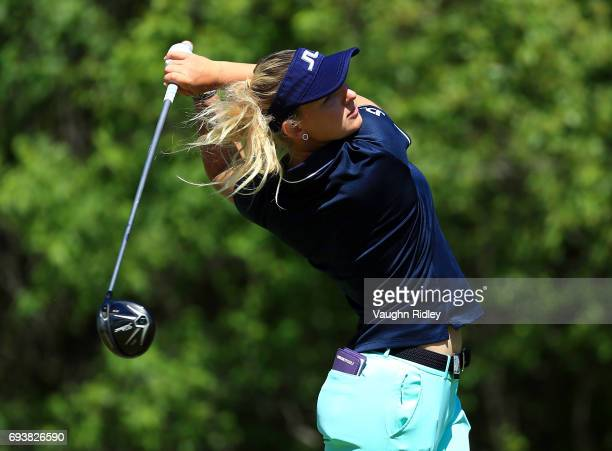 Emily Pedersen of Denmark hits her tee shot on the 18th hole during the first round of the Manulife LPGA Classic at Whistle Bear Golf Club on June 08...
