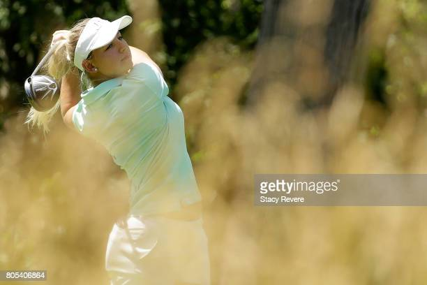 Emily Pedersen of Denmark hits her tee shot on the fifth hole during the third round of the 2017 KPMG PGA Championship on July 1 2017 in Olympia...