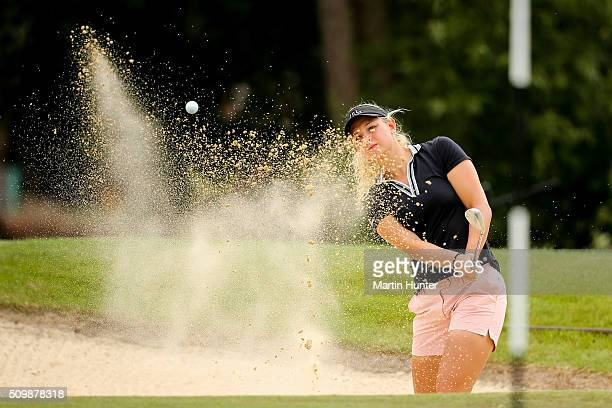 Emily Pedersen of Denmark plays a bunker shot during the 2nd round of the New Zealand Women's Open at Clearwater Golf Club on February 13 2016 in...