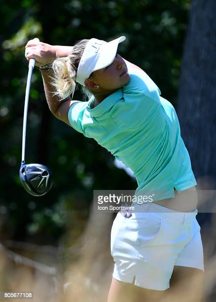 Emily Pedersen of Denmark plays the ball from the fifth tee during the third round of the 2017 KMPG PGA Championship at Olympia Fields on July 1 2017...
