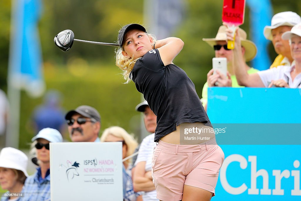 Emily Pedersen of Denmark tees off during the 2nd round of the New Zealand Women's Open at Clearwater Golf Club on February 13, 2016 in Christchurch, New Zealand.