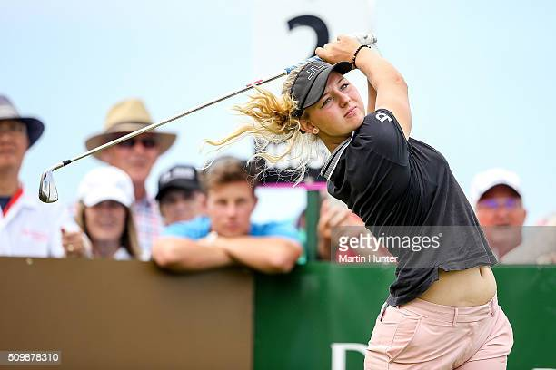 Emily Pedersen of Denmark tees off on the 2nd hole during the 2nd round of the New Zealand Women's Open at Clearwater Golf Club on February 13 2016...