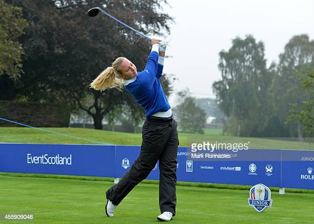 Emily Pedersen of Team Europe on the first tee during the first round of the 2014 Junior Ryder Cup at Blairgowrie Golf Club on September 22 2014 in...