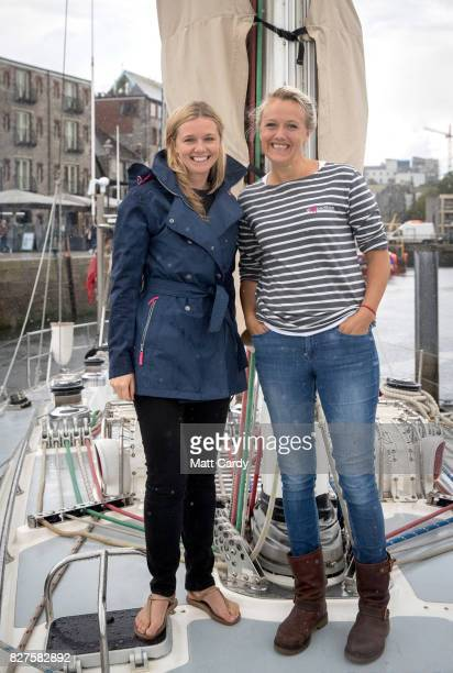 Emily Penn and Lucy Gilliam founders of eXXpedition pose for a photograph on the deck of the yacht Sea Dragon as the crew prepare to sail around...