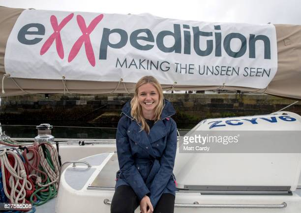 Emily Penn cofounder of eXXpedition poses for a photograph on the deck of the yacht Sea Dragon as the crew prepare to sail around Britain to...