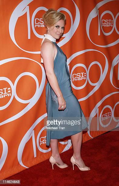 Emily Procter during 'CSI Miami' 100th Episode Party Arrivals at Malibu Beach in Malibu California United States