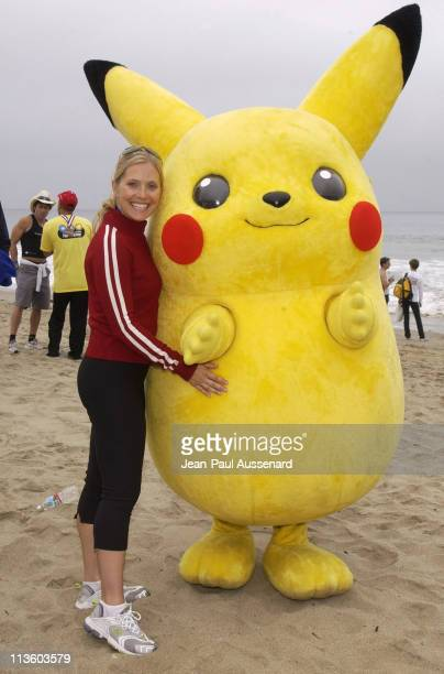 Emily Procter with Pikachu during 17th Annual Nautica Triathlon Benefitting The Elizabeth Glaser Pediatric Aids Foundation at Zuma Beach in Malibu...