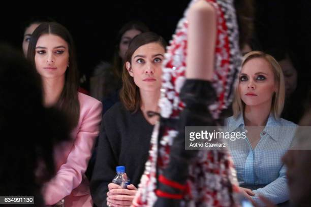 Emily Ratajkowski Alexa Chung and Christina Ricci attend the Altuzarra fashion show during New York Fashion Week on February 12 2017 in New York City