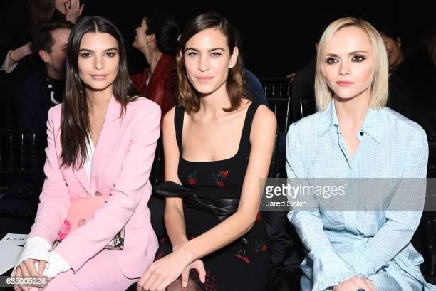 Emily Ratajkowski Alexa Chung and Christina Ricci attend the Altuzarra Runway Show during New York Fashion Week at Spring Studios on February 12 2017...