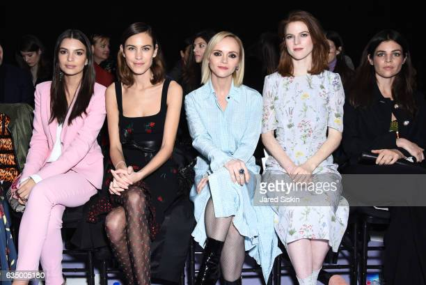 Emily Ratajkowski Alexa Chung Christina Ricci Rose Leslie and Julia RestoinRoitfeld sit front row at the Altuzarra Runway Show during New York...