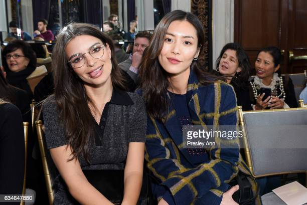 Emily Ratajkowski and Liu Wen attend Jason Wu Front Row Runway February 2017 New York Fashion Week at The St Regis on February 10 2017 in New York...