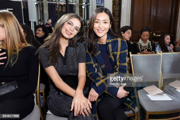 Emily Ratajkowski and Liu Wen attend Jason Wu Front Row Runway February 2017 New York Fashion Week at The St Regis on February 10 2017 in New York...