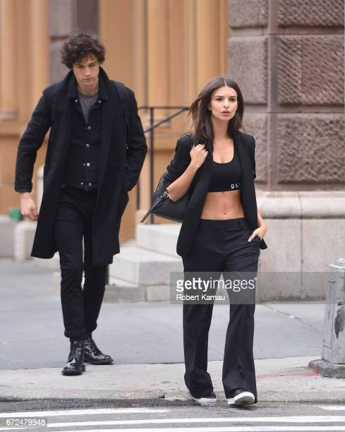 Emily Ratajkowski and Miles Mcmillan seen at a photoshoot in SoHo on April 24 2017 in New York City