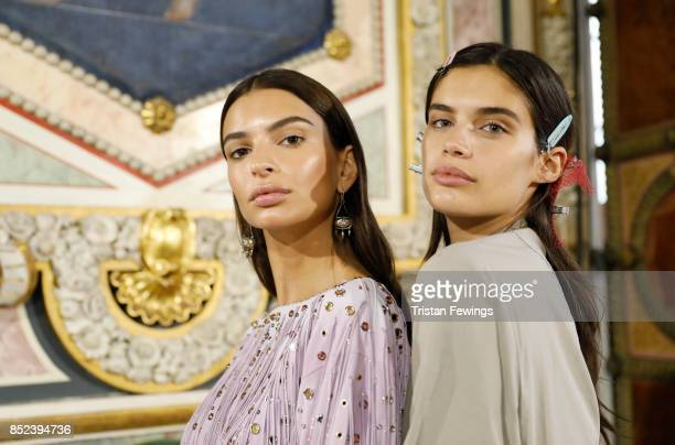 Emily Ratajkowski and Sara Sampaio are seen backstage ahead of the Bottega Veneta show during Milan Fashion Week Spring/Summer 2018 on September 23...