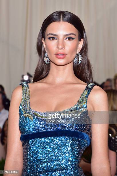 Emily Ratajkowski arrives at 'Rei Kawakubo/Comme des Garcons Art Of The InBetween' Costume Institute Gala at The Metropolitan Museum on May 1 2017 in...