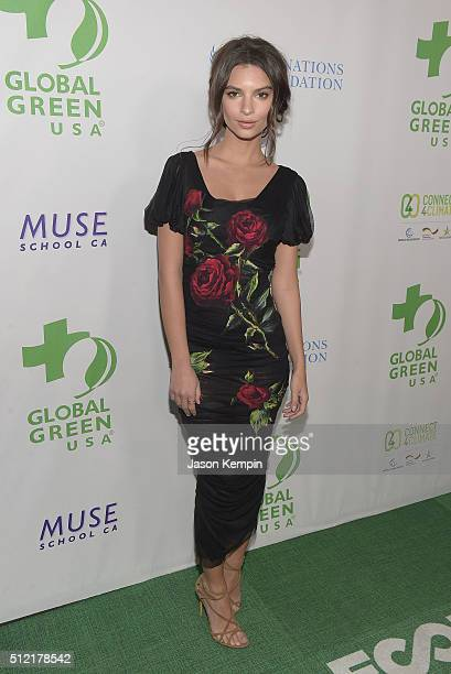 Emily Ratajkowski attends Global Green USA's 13th Annual PreOscar Party at Mr C Beverly Hills on February 24 2016 in Beverly Hills California