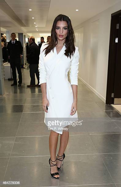 Emily Ratajkowski attends the Antonio Berardi show during London Fashion Week Fall/Winter 2015/16 at 10 Bloomsbury Way on February 23 2015 in London...