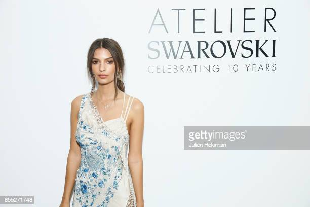 Emily Ratajkowski attends the Atelier Swarovski By Jason Wu dinner as part of the Paris Fashion Week Womenswear Spring/Summer 2018 on September 28...