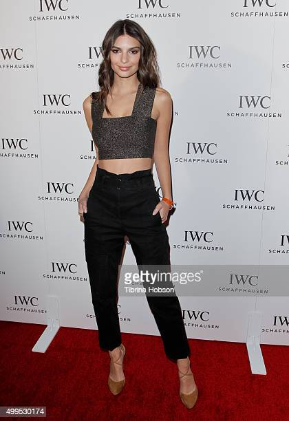 Emily Ratajkowski attends the IWC Schaffhausen Rodeo Drive grand opening at IWC Shaffhausen on December 1 2015 in Beverly Hills California