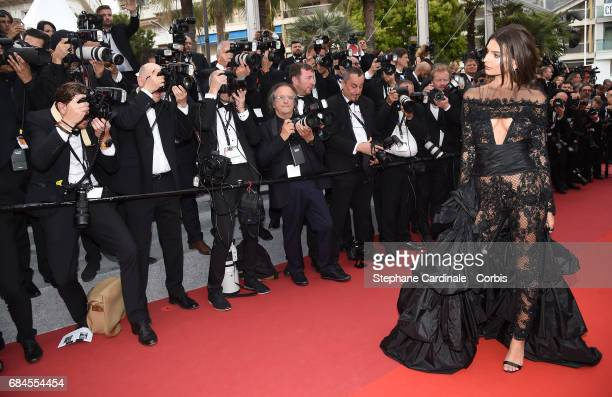 Emily Ratajkowski attends the 'Loveless ' premiere during the 70th annual Cannes Film Festival at Palais des Festivals on May 18 2017 in Cannes France