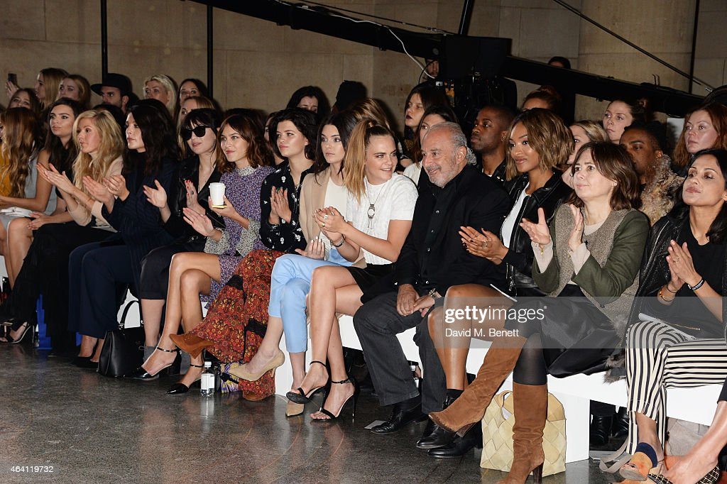 Emily Ratajkowski, Ellie Goulding, Jessie Ware, Daisy Lowe, Alexa Chung, Pixie Geldof, Kendall Jenner, Cara Delevingne, Sir Philip Green, Jourdan Dunn and Alexandra Shulman attend the Topshop Unique show during London Fashion Week Fall/Winter 2015/16 at Tate Britain on February 22, 2015 in London, England.