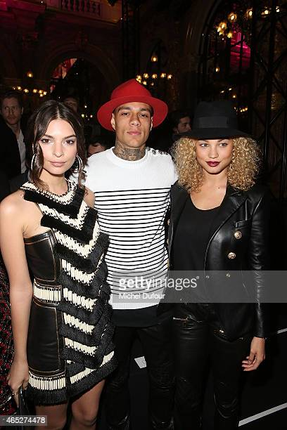 Emily Ratajkowski Gregory van der Wiel and Rose Bertram attend the Balmain show as part of the Paris Fashion Week Womenswear Fall/Winter 2015/2016 on...