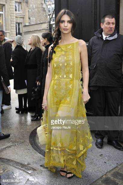Emily Ratajkowski is seen arriving at Valentino fashion show during the Paris Fashion Week Womenswear Fall/Winter 2017/2018 on March 5 2017 in Paris...