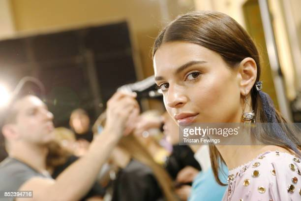 Emily Ratajkowski is seen backstage ahead of the Bottega Veneta show during Milan Fashion Week Spring/Summer 2018 on September 23 2017 in Milan Italy
