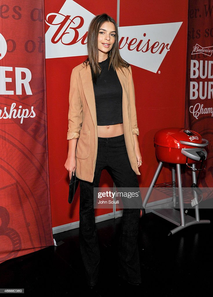 Emily Ratajkowski, star of the upcoming Entourage movie, joined Budweiser at an event in Los Angeles on April 7, 2015, to launch a coast-to-coast search for the official Bud & Burgers Champion. The Entourage movie premieres June 5.