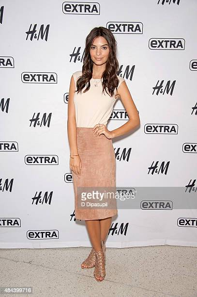 Emily Ratajkowski visits 'Extra' at their New York studios at HM in Times Square on August 18 2015 in New York City