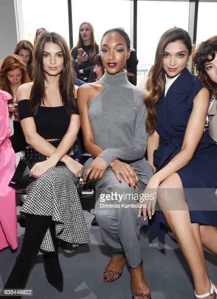 Emily RatajkowskiJourdan Dunn and Deepika Padukone attend the Michael Kors Collection Fall 2017 runway show at Spring Studios on February 15 2017 in...