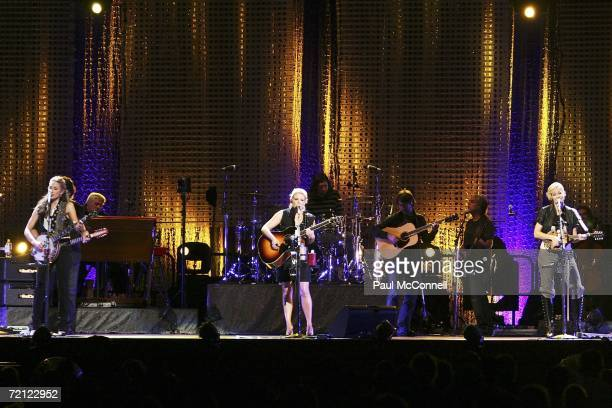 Emily Robison Natalie Maines and Martie Maguire of the Dixie Chicks performs on stage in concert at the Acer Arena on October 9 2006 in Sydney...