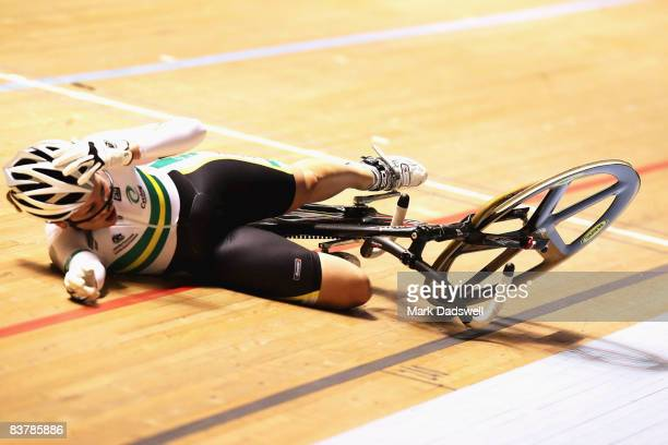 Emily Rosemond of Australia falls in the race of for 712 placings in the Womens Keirin Final during day three of the UCI Track World Cup at Hisense...