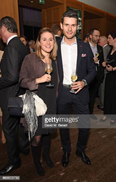 Emily Roux and Diego Ferrari attend 10th anniversary of Alain Ducasse at The Dorchester on October 23 2017 in London England