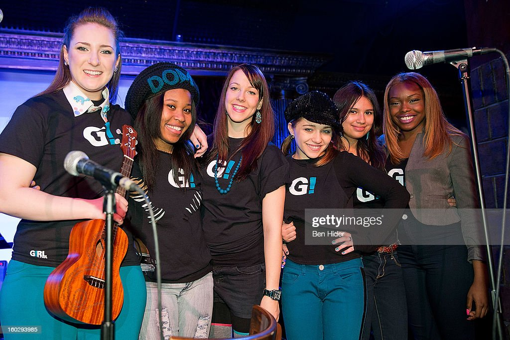 Emily Rupp, Dominique Fishback, Camille Theobald, Tiff Roma, Karen Vigo, Isabella Olaguera and Breani Michelle attend 'Girl Be Heard' Rebranding Launch Event at The Cutting Room on January 28, 2013 in New York City.