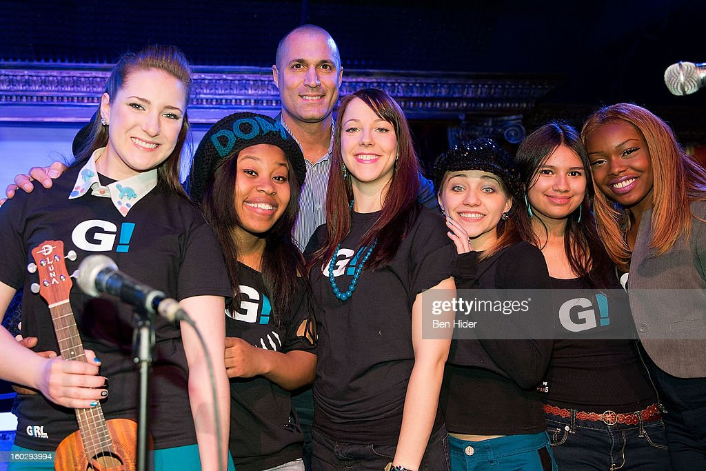 Emily Rupp Dominique Fishback, Nigel Barker, Camille Theobald, Tiff Roma, Karen Vigo, Isabella Olaguera and Breani Michelle attend 'Girl Be Heard' Rebranding Launch Event at The Cutting Room on January 28, 2013 in New York City.