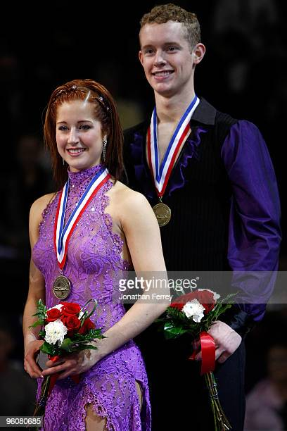 Emily Samuelson and Evan Bates pose with their bronze medals after finishing third in the dance competition at the US Figure Skating Championships at...
