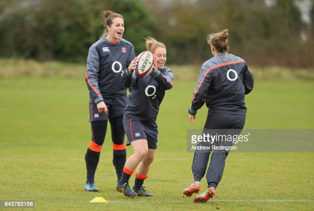 Emily Scarratt and iLa Toya Mason are pictured during an England Women Training Session on February 22 2017 in Sunbury England