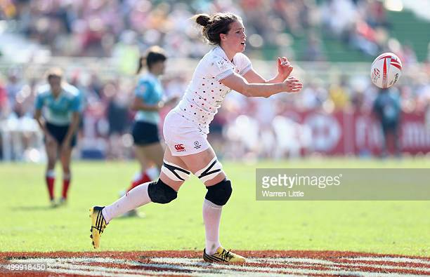 Emily Scarratt of England in action against Russia during the Emirates Dubai Rugby Sevens HSBC World Rugby Women's Sevens Series at The Sevens...