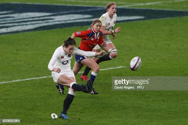 Emily Scarratt of England kicks at goal during the Women's Six Nations match between England and France at Twickenham Stadium on February 4 2017 in...